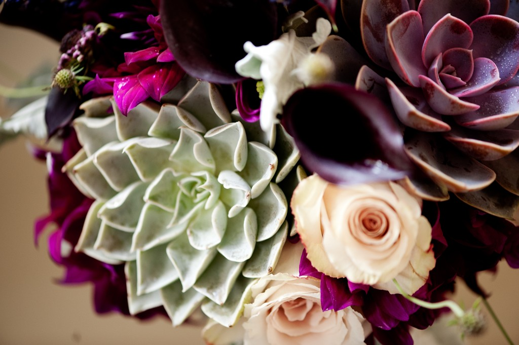 Rose and succulent details from the bridal bouquet.