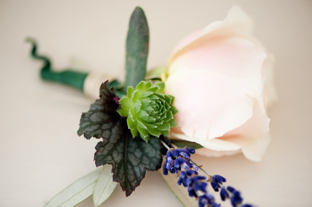 A super sweet boutonniere with lavender, a succulent and a rose.