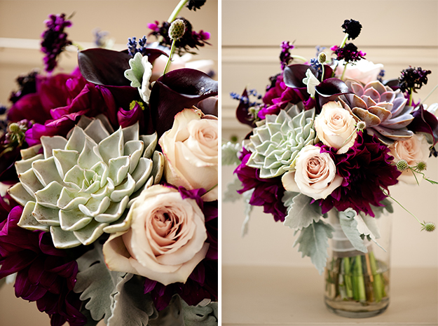 More of the bouquet with hints of dusty miller, mini callalily, dahlias, lavender and deep romantic colors.