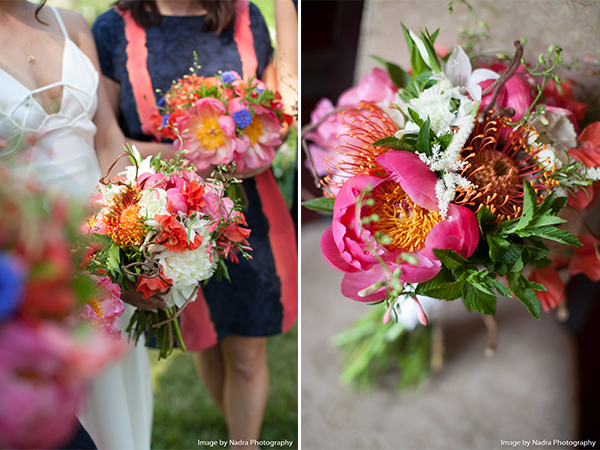 Bright and beautiful bouquet with stunning peonies.