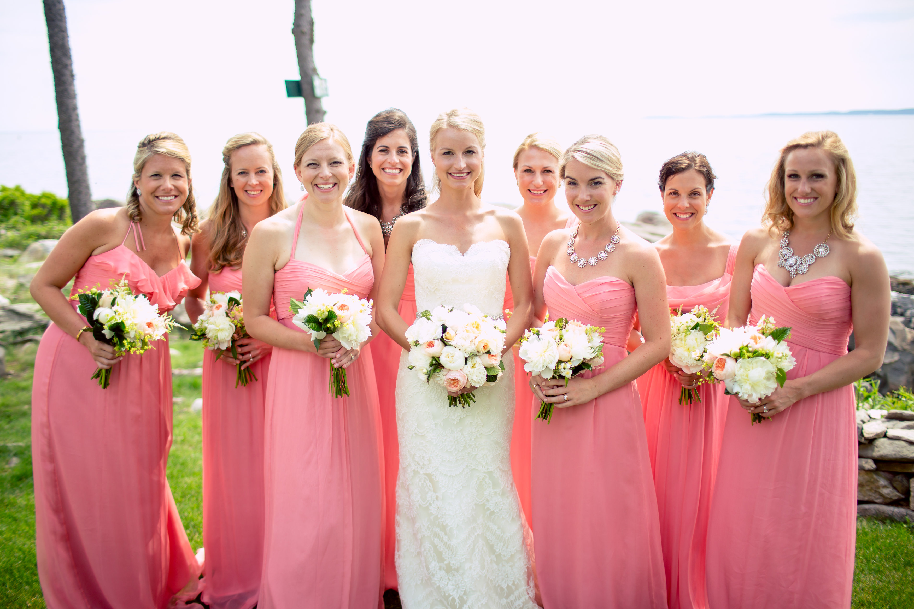 maine bridesmaids pink white boothbay harbor