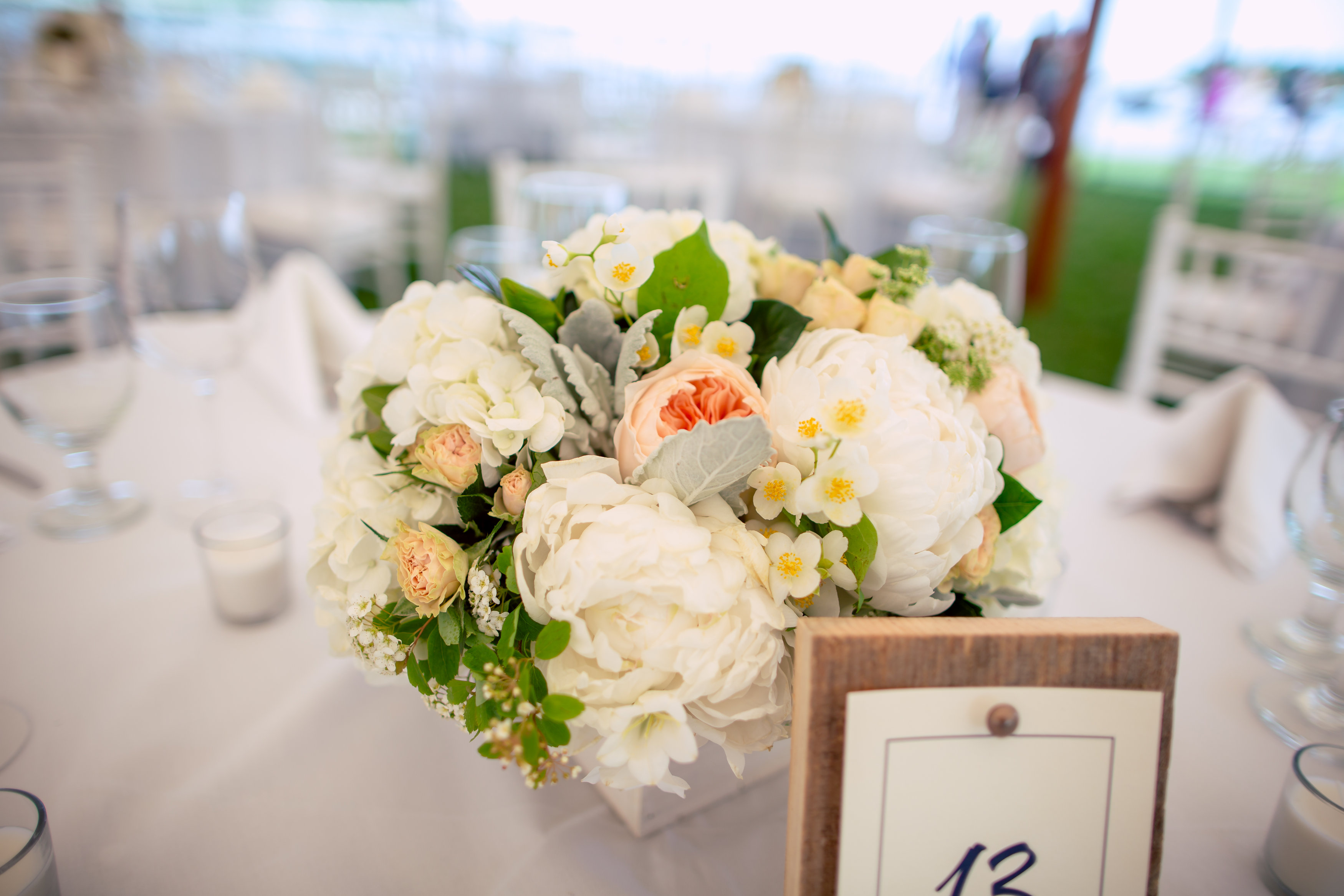 wedding centerpiece boothbay harbor maine peony roses