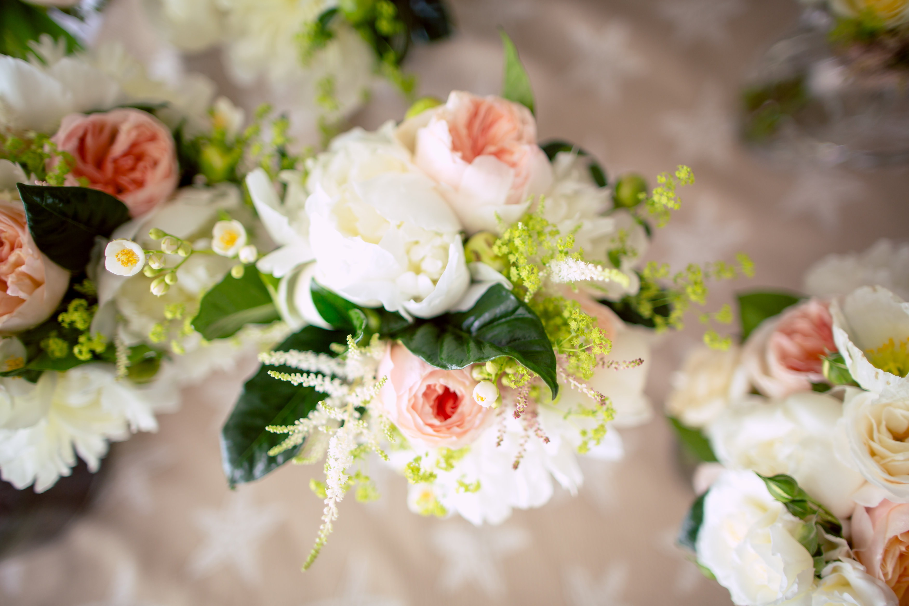 maine spring wedding flowers pink white green